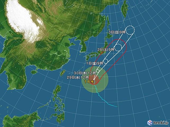 台風16号_天気図